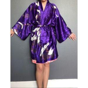 Vintage Marukyo Japanese Crane Print Kimono